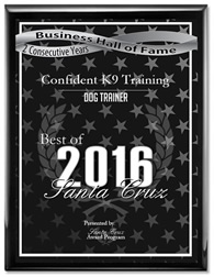 Redding Dog Trainer - Best of 2016 Award. Business Hall of Fame.